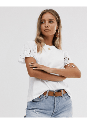 ASOS DESIGN t-shirt with broderie sleeve in white