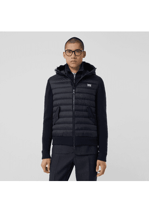 Burberry Puffer Detail Technical Knit Hooded Jacket, Blue