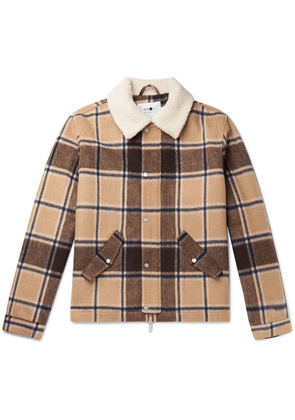 NN07 - Louis Faux Shearling-trimmed Checked Wool-blend Jacket - Brown