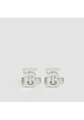 Burberry Monogram Motif Palladium-plated Cufflinks, Grey