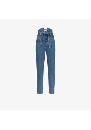 Attico high waist belted skinny jeans