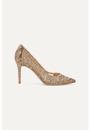 Gianvito Rossi - 85 Leather-trimmed Metallic Guipure Lace And Mesh Pumps - Gold