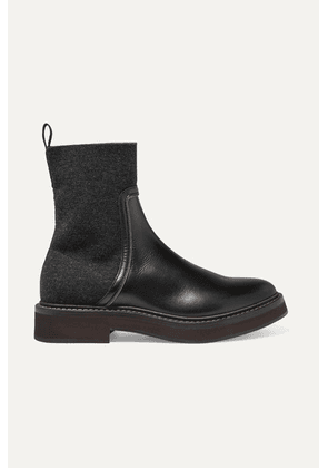 Brunello Cucinelli - Bead-embellished Leather And Cashmere Chelsea Boots - Black