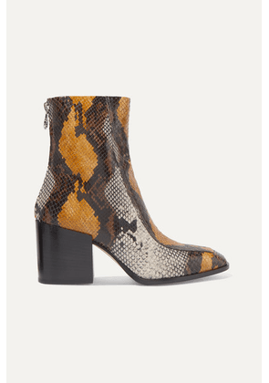 aeyde - Lidia Snake-effect Leather Ankle Boots - Snake print