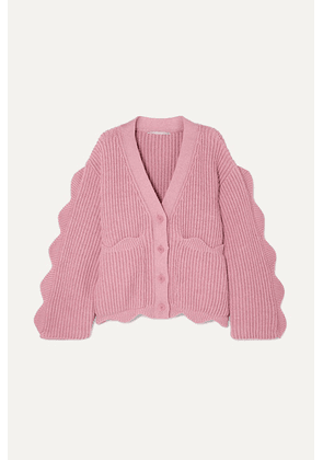 Stella McCartney - Scalloped Ribbed Cotton And Wool-blend Cardigan - Pink