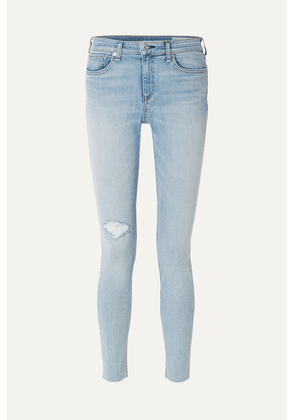 rag & bone - The Skinny Mid-rise Distressed Jeans - Light denim