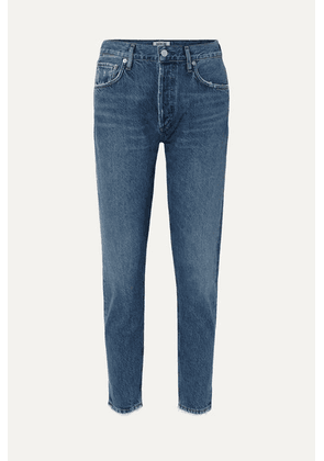 AGOLDE - Jamie Cropped Frayed Organic High-rise Straight-leg Jeans - Dark denim