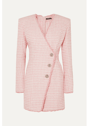 Balmain - Wrap-effect Button-embellished Tweed Mini Dress - Pink