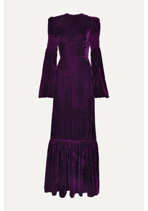 The Vampire's Wife - Tiered Shirred Velvet Maxi Dress - Purple