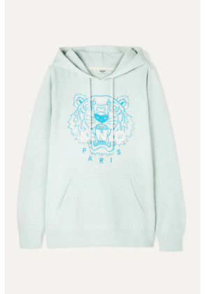 KENZO - Embroidered Cotton-jersey Hoodie - Sky blue