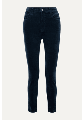 J Brand - Leenah Stretch Cotton-blend Velvet Skinny Pants - Midnight blue