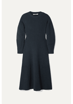 Givenchy - Ribbed Wool-blend Midi Dress - Storm blue
