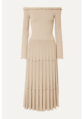 Altuzarra - Alisha Off-the-shoulder Pleated Knitted Midi Dress - Ivory
