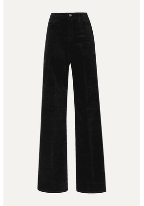 J Brand - Valentina Cotton-blend Velvet Flared Pants - Black