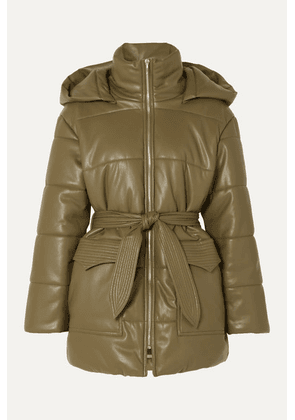 Nanushka - Lenox Belted Quilted Vegan Leather Jacket - Army green