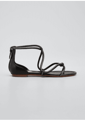 Studded Leather Strappy Flat Sandals