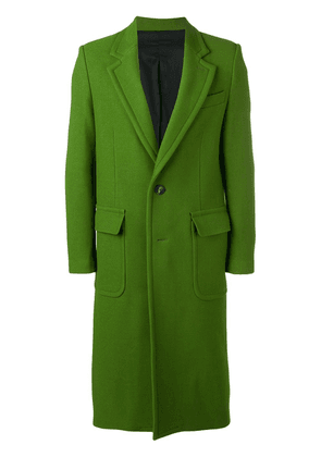Ami Paris Patched Pockets Two Buttons Long Lined Coat - Green