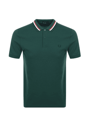 Fred Perry Bomber Stripe Polo T Shirt Green