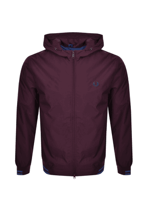 Fred Perry Tipped Hooded Jacket Bugundy