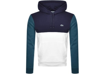 Lacoste Pullover Colour Block Hoodie Blue