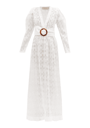 Adriana Degreas - Belted Silk-blend Fil Coupé Maxi Dress - Womens - White