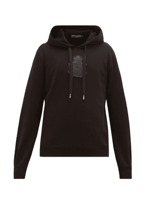 Dolce & Gabbana - Logo-plaque Loopback-cotton Hooded Sweatshirt - Mens - Black