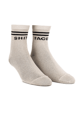MOTHER Shit Faced Socks in Metallic Gold.