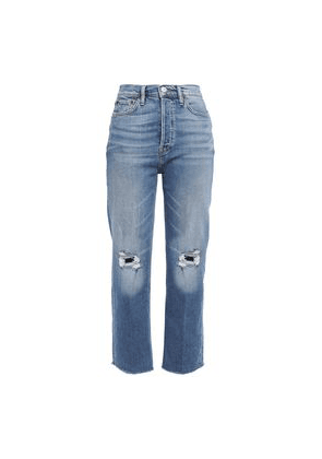 Re/done Cropped High-rise Straight-leg Jeans Woman Mid denim Size 23