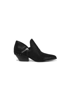 Sigerson Morrison Haile2 Studded Metallic Suede Ankle Boots Woman Black Size 36.5