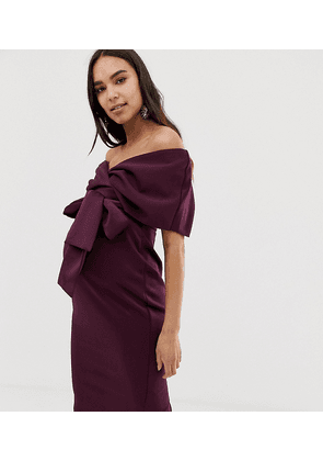 ASOS DESIGN Maternity fallen shoulder wrap midi dress with tie detail-Red