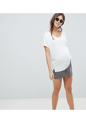 ASOS DESIGN Maternity under the bump culotte shorts in easy stripe-Navy
