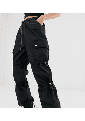 COLLUSION nylon trouser with pockets in black