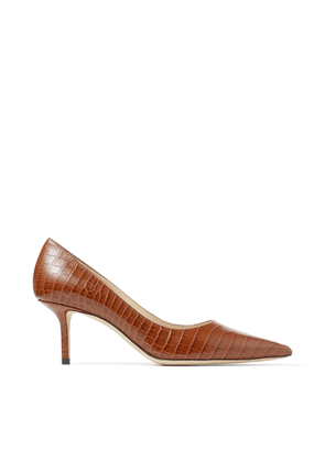 LOVE 65 Cuoio Croc-Embossed Leather Pumps with JC Emblem