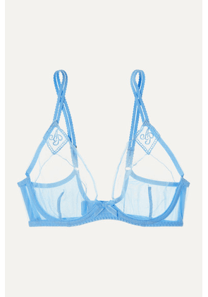 Agent Provocateur - Casper Embroidered Tulle Underwired Bra - Light blue