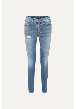 SAINT LAURENT - Distressed Low-rise Skinny Jeans - Blue