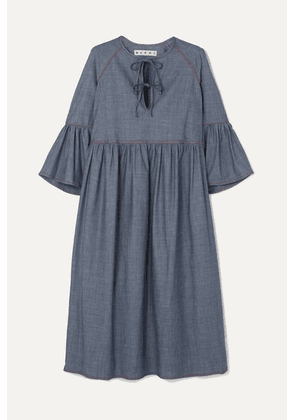 Marni - Cotton-blend Chambray Midi Dress - Gray