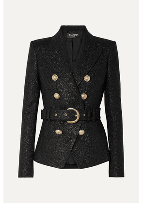 Balmain - Double-breasted Belted Metallic Wool-blend Tweed Blazer - Black