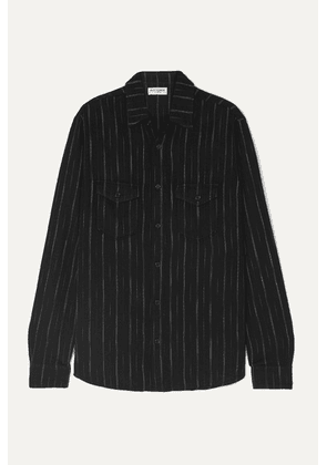 SAINT LAURENT - Metallic Striped Flannel Shirt - Black
