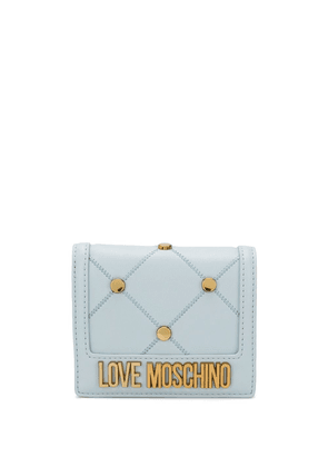 Love Moschino stud-embellished compact wallet - Blue