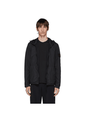 Stone Island Black Nylon Rep Hooded Coat