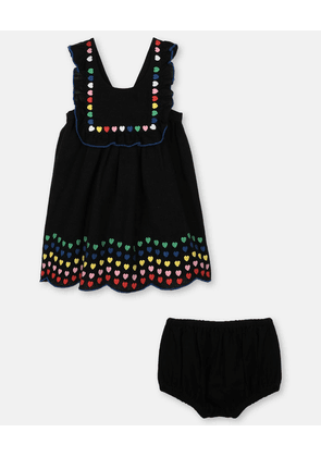 Stella McCartney Kids Black Hearts Embroidery Linen Dress, Unisex, Size 1-3