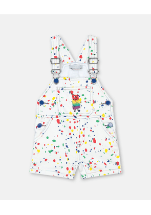 Stella McCartney Kids White Multicolour Splash Denim Dungarees, Unisex, Size 1-3