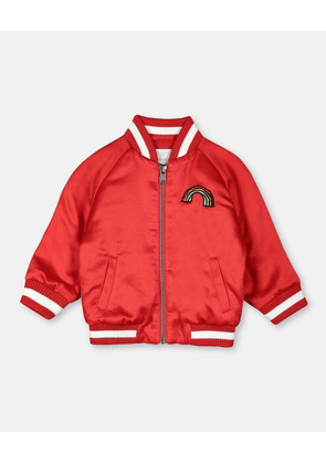 Stella McCartney Kids RED Rainbow Satin Bomber Jacket, Unisex, Size 1-3