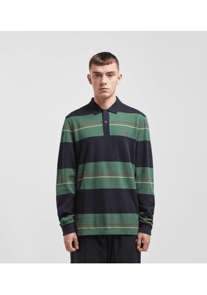 Fred Perry Panelled Stripe Long Sleeve Polo Shirt, Green