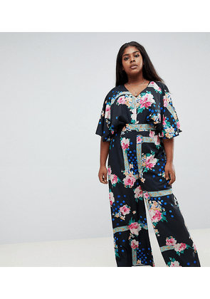 ASOS DESIGN Curve jumpsuit with overlay and wide leg in floral print-Multi