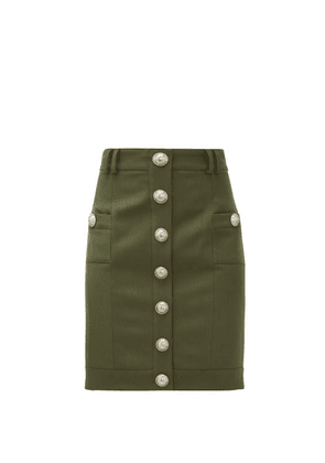 Balmain - Buttoned High-rise Wool Mini Skirt - Womens - Khaki