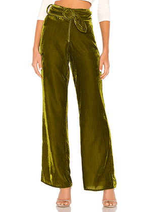 Tularosa Ruth Belted Pant in Green. Size S,XL,XS,XXS.