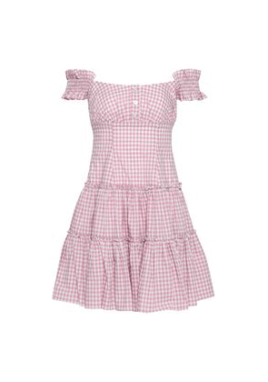Caroline Constas Maria Off-the-shoulder Gingham Cotton-poplin Mini Dress Woman Blush Size M