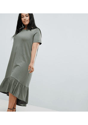 ASOS DESIGN Curve midi t-shirt dress with drop hem-Green