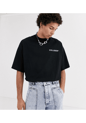 COLLUSION oversized t-shirt in black with white raised logo print